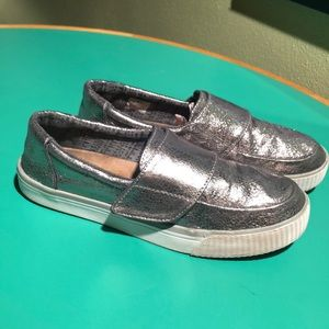 TOMS Silver Metallic Velcro Athletic Flats 9